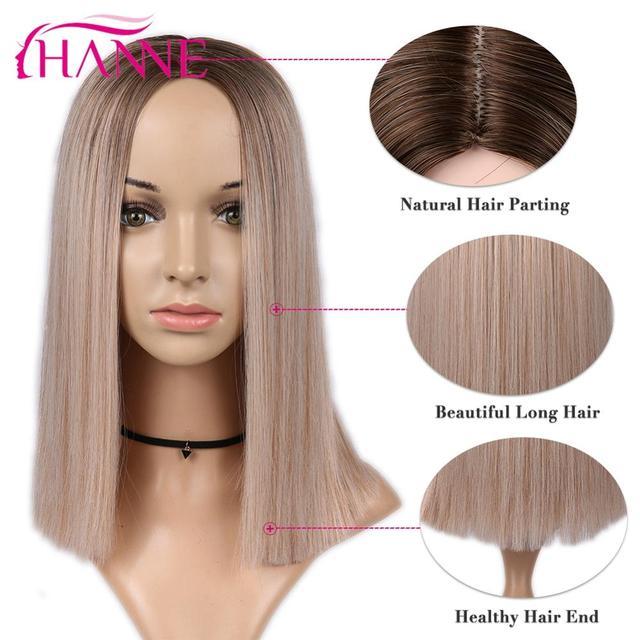 HANNE 합성 짧은 스트레이트 가발 흑인 또는 백인 여성을위한 옹 브르 브라운/금발/핑크 중간 부분 자연 머리카락