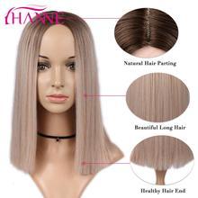 האנה סינטטי קצר ישר פאות עבור שחור או לבן נשים Ombre חום/בלונד/ורוד התיכון חלק טבעי שיער