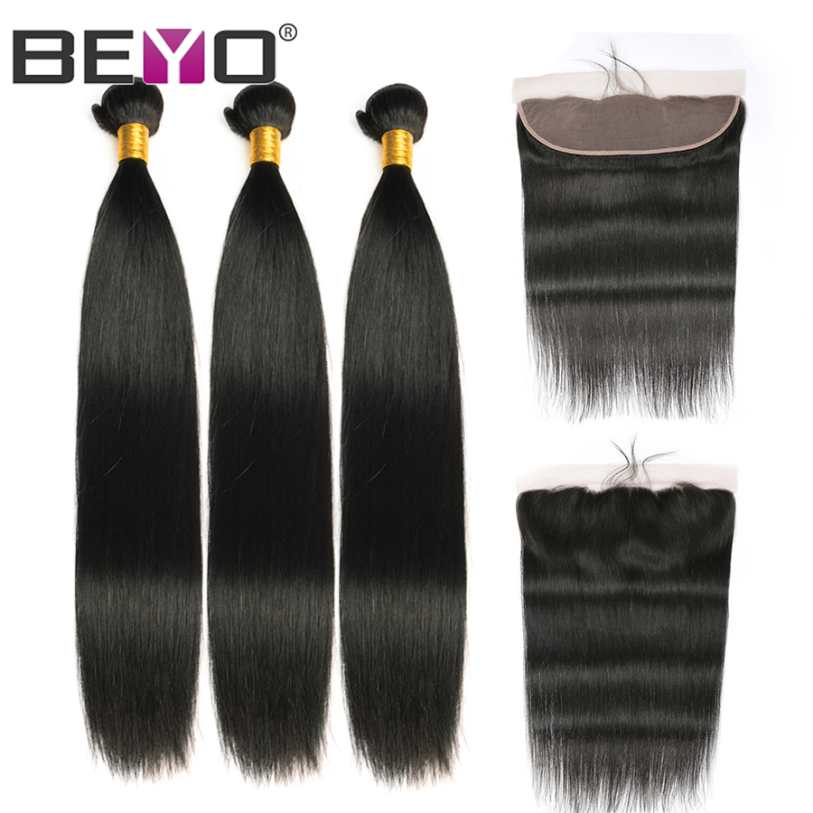 13x4 Lace Frontal Straight Hair Bundles With Frontal Indian Hair 3 Bundles With Frontal Closure Human Hair Non Remy Beyo Hair-in 3/4 Bundles with Closure from Hair Extensions & Wigs    1