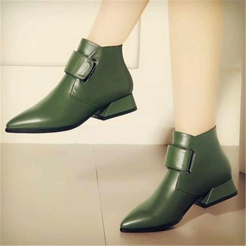 Frauen High Heel Stiefel Grün Retro Frau Mode Stiefeletten Damen Schuhe PU leder Boot Weibliche High Heel Schuh Botines mujer