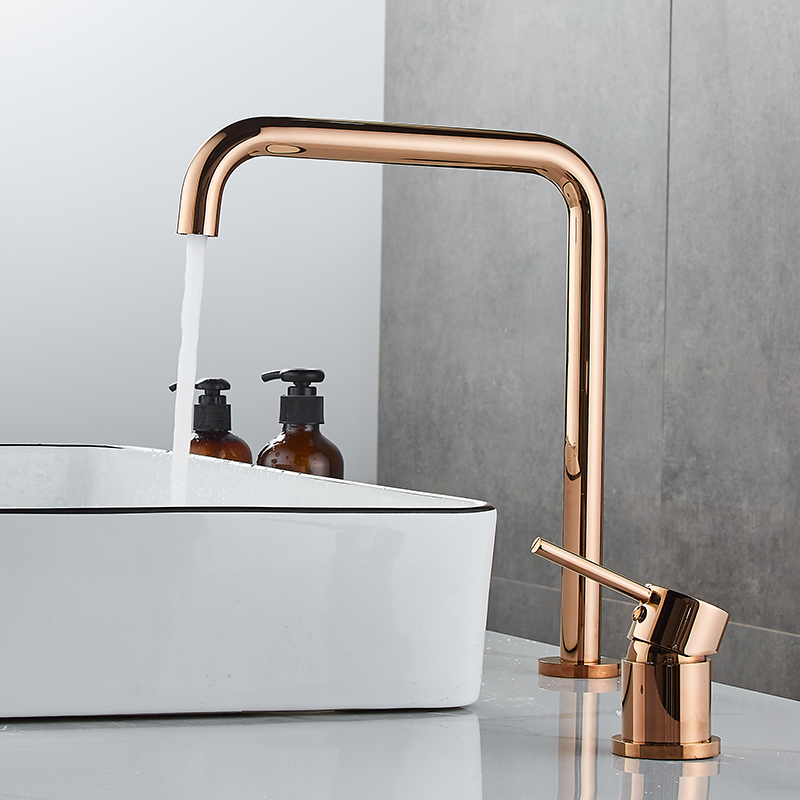 Basin Faucet Bathroom Super Long Pipe Two Holes Rose Gold Bathroom Faucet Sink Tap 360 Rotating Widespread Black Basin Tap