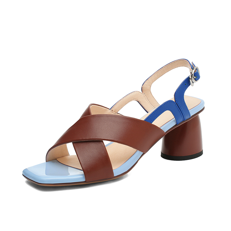 New Mixed Colors Genuine Leather Rome Women Sandals Brand Square Toe Hoof Heels Buckle Party Office Lady Basic Shoes