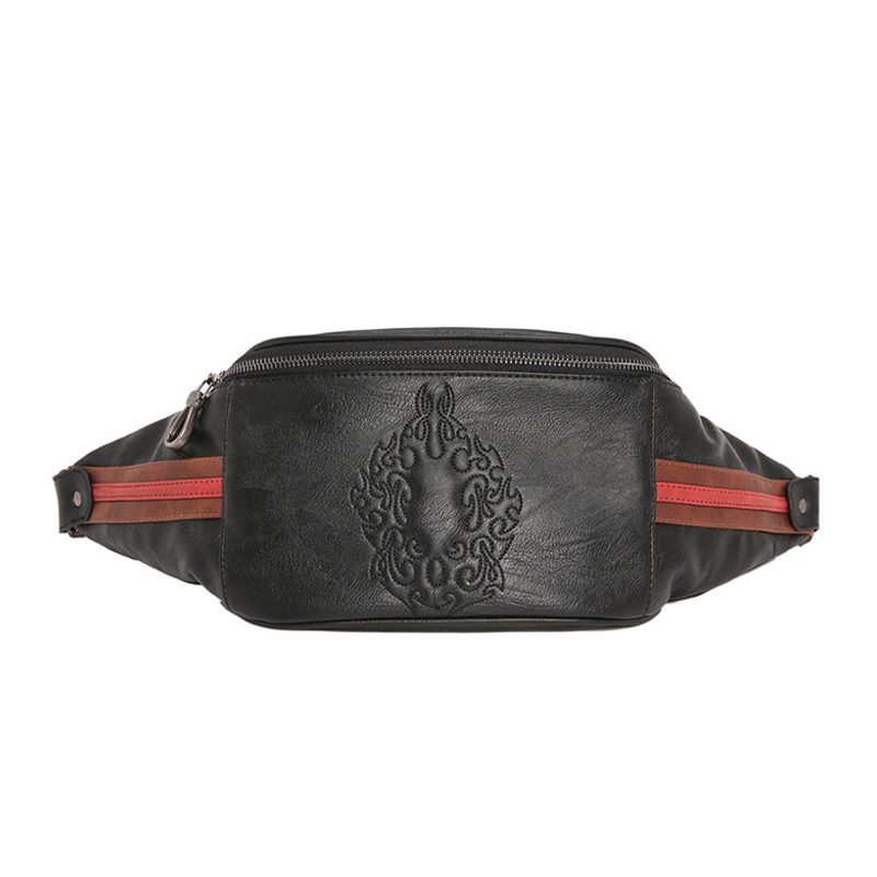 Men's Waist Pack Bags Personality Pattern Chest Bag Male Fashion Genuine Leather Crossbody Shoulder Bags Handy Fanny Pack