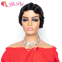 Short Finger Wave Wigs Short Bob Wigs For Woman Short Pixie Cut Wig Brazilian Remy Human Hair Wigs Natural Color Yepei Hair