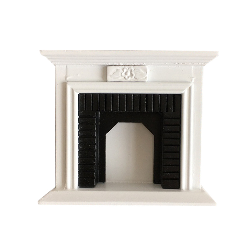 <font><b>1:12</b></font> Dollhouse <font><b>Miniature</b></font> <font><b>Furniture</b></font> Room Wooden Vintage Black White Fireplace Doll House Accessories Toys For Children Gift image