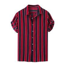 Мужская хлопковая рубашка с короткими рукавами Повседневная