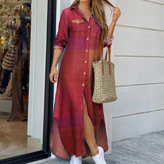 Maxi Beach Dress Elegant Women Button Long Shirt Dress Summer Split Print Lapel Neck Party Dress Long Sleeve Checked Plaid Robe 2