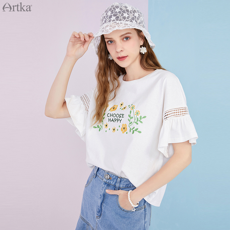 ARTKA 2020 Summer New Women T-shirt Fashion Flower Embroidery O-Neck T-shirt Pure Cotton Loose Short Sleeve T-shirts TA25305X