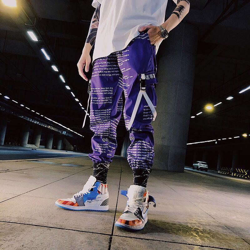 Color Block Pocket Patchwork Cargo Joggers Men Graffiti Hip Hop Letter Print Harem Pants Mens Casual Dance Trousers Sweatpants