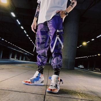 Color Block Pocket Patchwork Cargo Joggers Men Graffiti Hip Hop Letter Print Harem Pants Mens Casual Dance Trousers Sweatpants - discount item  40% OFF Pants