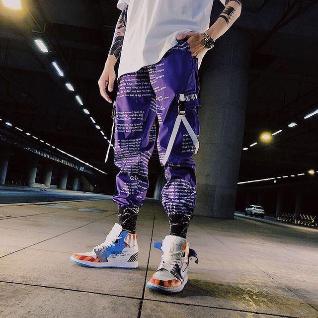 Color Block Pocket Patchwork Cargo Joggers Men Graffiti Hip Hop Letter Print Harem Pants Mens Casual Dance Trousers Sweatpants 1
