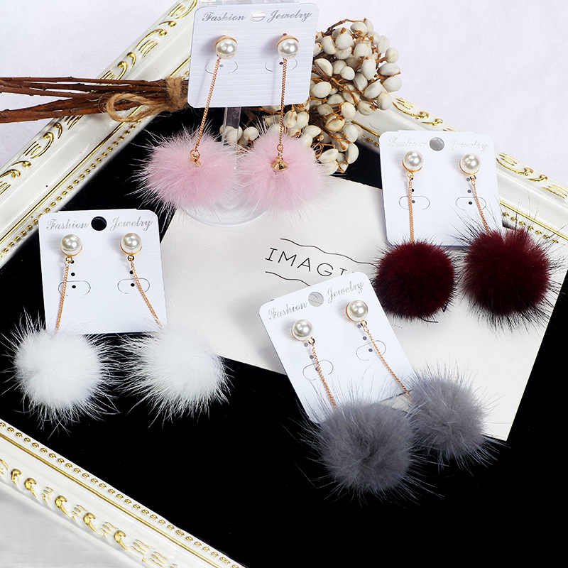 Women Autumn Winter Simple Fur Ball Long Tassel Earring Circular Pendant Earrings Fluffy Bun Pendant Fashion Jewelry