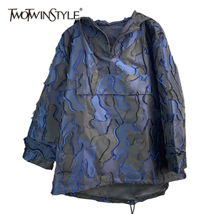 TWOTWINSTYLE Camouflage Embroidered Sweatshirt For Women V Neck Long Sleeve With Hood Oversized Casual Loose Sweatshirts Female