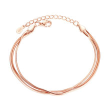 MOONROCY Silver / Rose Gold Color Bracelet Trendy Simple Snake Chain Party Jewelry for Women Girls Gift Drop Shipping Wholesale(China)