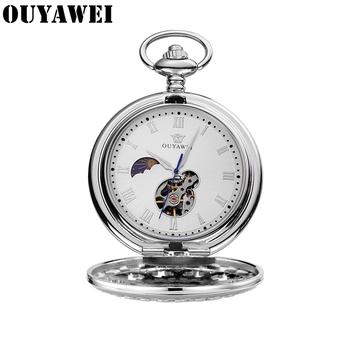 OUYAWEI mechaniczne zegarki kieszonkowe męskie mechaniczne ręcznie nakręcany Steampunk mężczyźni zegarki Top marka luksusowe kieszonkowe i Fob Relojes Hombre tanie i dobre opinie CN (pochodzenie) Mechaniczna Ręka Wiatr STAINLESS STEEL ROUND ANALOG Top Brands Fashion Mechanical Pocket Fob Watches