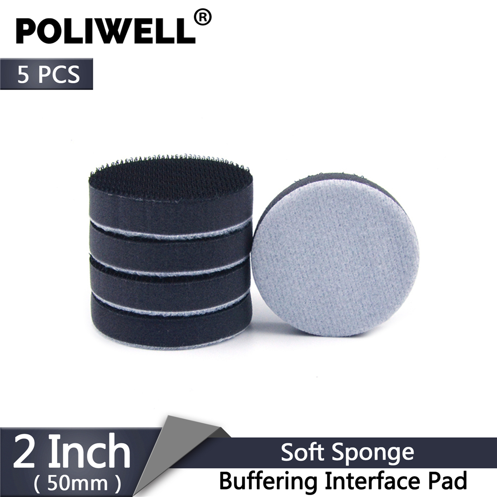 POLIWELL 5PCS 2'' 50mm Soft Sponge Buffering Interface Pad For Hook&Loop Sanding Pad Disc Protection Abrasive Backing Pads