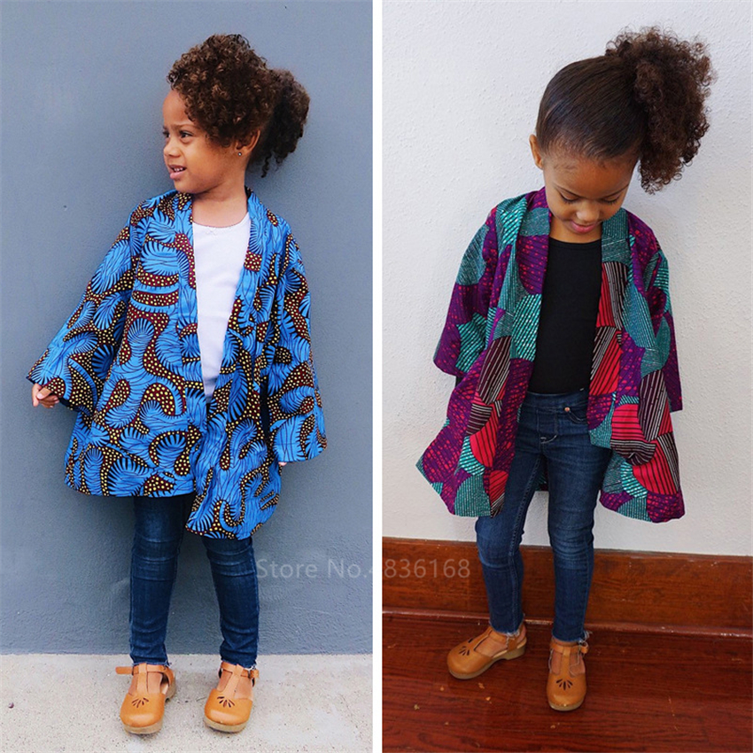 Ankara Style 2020 News Full Sleeve African Clothes Dashiki Print Cardigan Bazin Baby Girl Coat African Dresses For Women Fashion