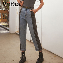 Straight Jeans Pants Black Two-Tone High-Waist Women Blue Fashion Denim Slant Pocket