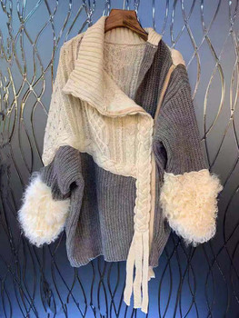 Asymmetrical Split Fur Big Size Knitting Sweater Loose Fit Long Sleeve Women New Fashion Tide Spring Autumn 2020 [eam] oversized knitting sweater loose fit turtleneck long sleeve women pullovers new fashion tide spring autumn 2020 19a a43