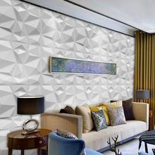 Paneles decorativos de pared 3D, 12 Uds., diseño de diamante, blanco mate, 30x30cm, papel pintado, Panel-molde