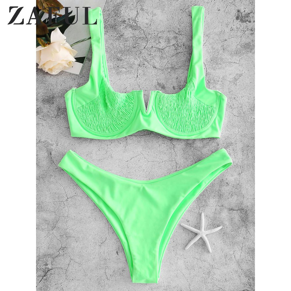 ZAFUL Underwire Smocked Bikini Set Solid Rim Knotted Bikini V Cut Bikini Unlined Shirred Bikini Tie Neon Push Up Back Bikini