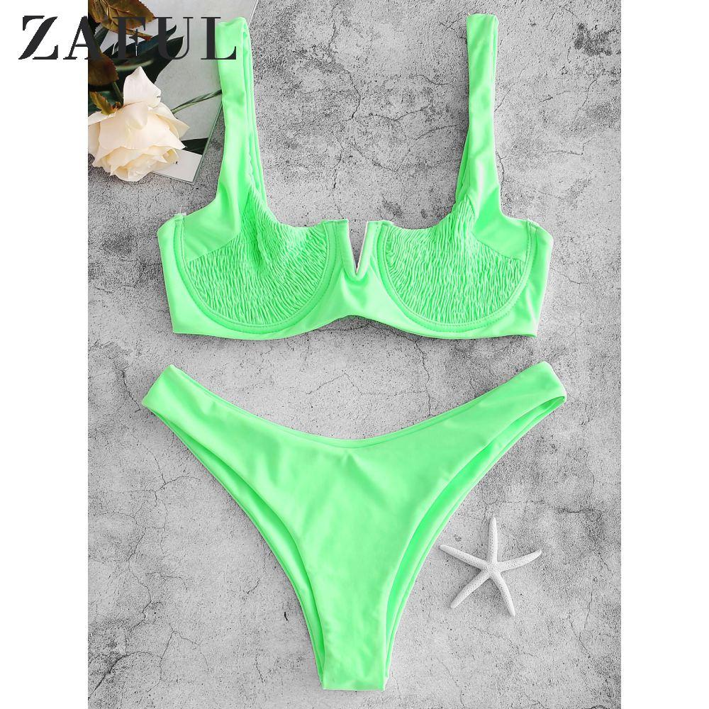 ZAFUL Underwire Smocked Bikini Set Solid Rim Knotted Bikini V Cut Bikini Unlined Shirred Bikini Tie Neon Push Up Back Bikini