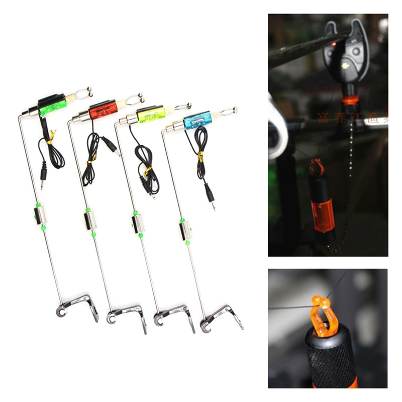 High Quality Outdoor Fishing Alarm Iron Fishing Bite Hanger Swinger LED Illuminated Indicator Fishing Tackle Tools