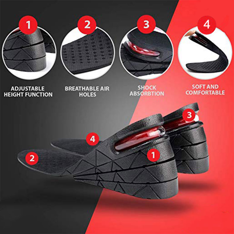 1 Pair Height Increase PU Shoes Insoles Multi Layer Air Cushion Taller Heel Insert K-BEST