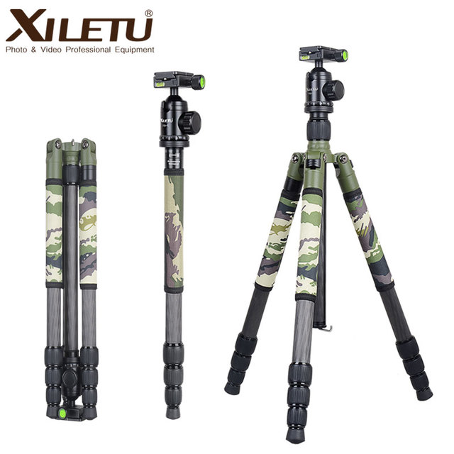 XILETU T284C+FB1 Professional Carbon Fiber Travel Tripod Green Camouflage Hidden Stand for DSLR Camera Outdoor Hunting Shooting