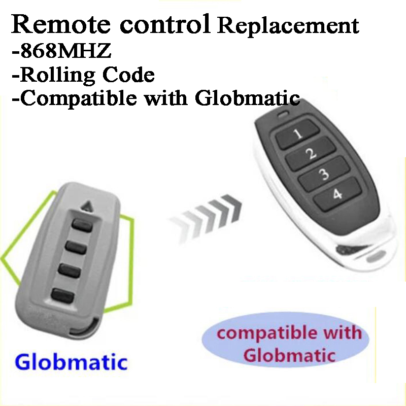 Compatible With Globmatic 868MHz Rolling Code Sliding Gate Roller Shutter Garage Door Remote Control Duplicator Replacement