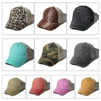 Women Distressed Washed Mesh Back Baseball Cap Leopard Camo Print Hollow Criss Cross Band Ponytail Messy Bun Trucker Hat