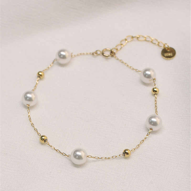 Ataullah Natural Freshwater Pearl Bracelet Sterling Silver 925 Jewelry 18K Gold Floating Pearl Ball Chain Woman Bangles BW036