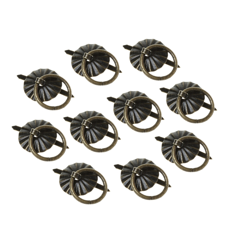 10pcs Green Bronze Color Ring Pin Handle Drawer Cabinet Desk Pull Knob Furniture