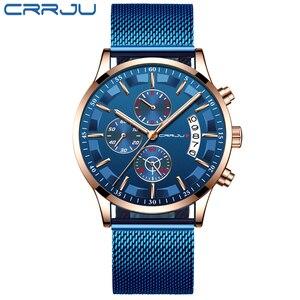 Image 2 - 2019 Mens Stylish Watches CRRJU Brand Blue Military Waterproof Sports Watch  Mens Casual Mesh Strap Quartz Clock reloj hombre