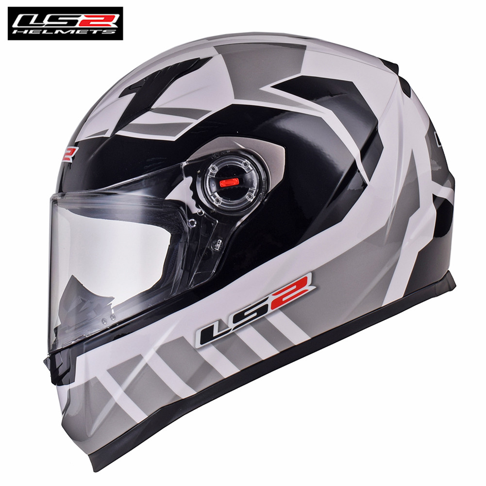 LS2 FF358 Gray-White Full Face Moto Racing Motorcycle Helmet Motorbike Bike Helmet Crash Motor Helm Casque Moto Kask