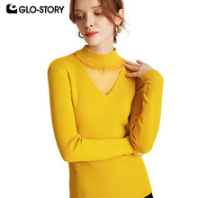 GLO-STORY 2019 Women Hollow-Out Lace Long Sleeve Pullover Sweaters Autumn Women Underwear Tops Female 197(China)