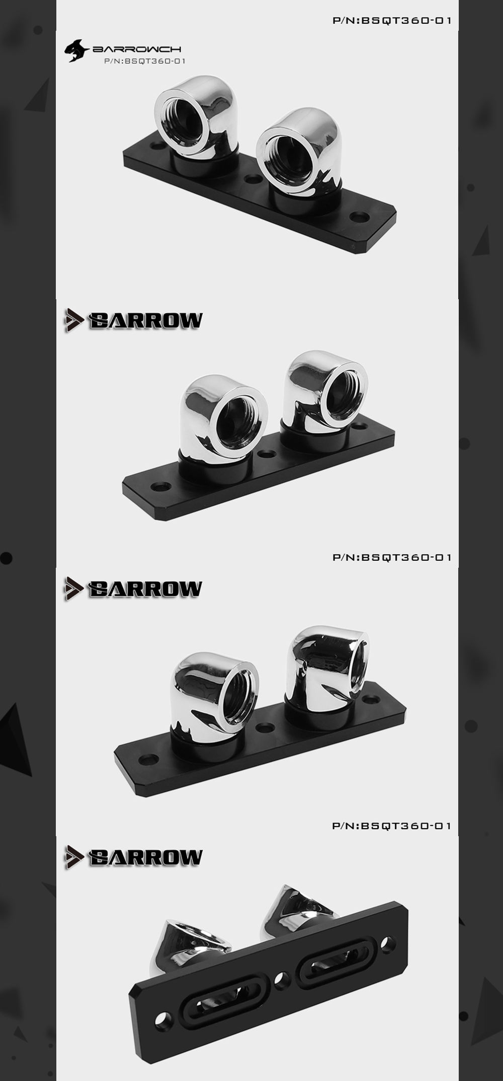 Barrow BSQT360-01, 360 Degree Rotating Bridge For Barrow GPU Block, With 90 Degree Change Direction