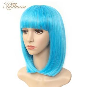 FREEWOMAN свежий синий синтетический Боб парики для женщин короткий боб парик с челкой искусственные волосы фиолетовый черный парик термостойк...