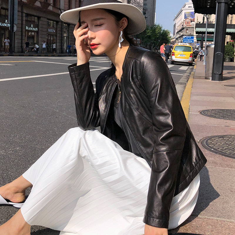 Women 2020 Sheepskin Genuine Short Slim Motorcycle Real Leather Jacket Chaqueta Mujer OT1228 YY622