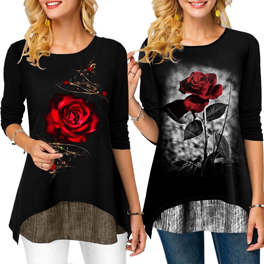 T-shirt Women Roses Printed Black-White Tee Shirts 2020 Spring 3/4 Sleeve Ladies Tshirt Casual O Neck Loose Female Camisa D30