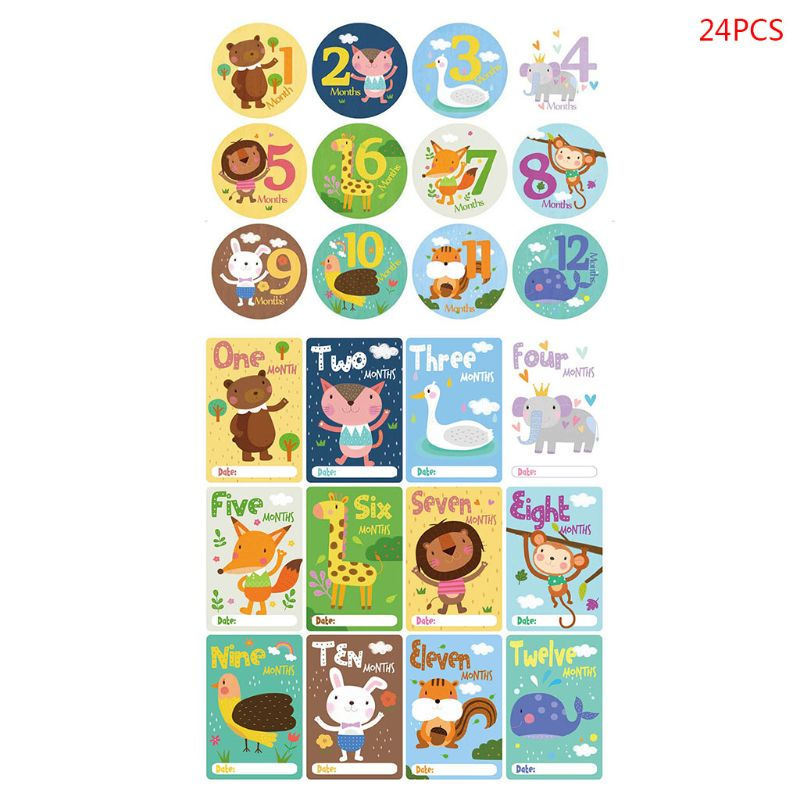 24 Pcs/set Cartoon Baby Monthly Sticker Card Newborn Milestone Photography Props