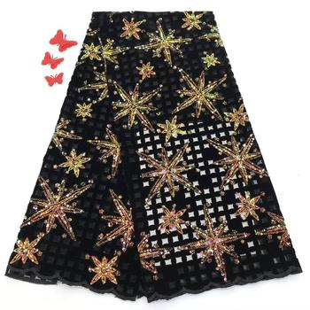 Madison African Lace Velevt Lace Fabric with Sequins Nigerian French Tulle Mesh Lace Popular Sequence Lace for Women
