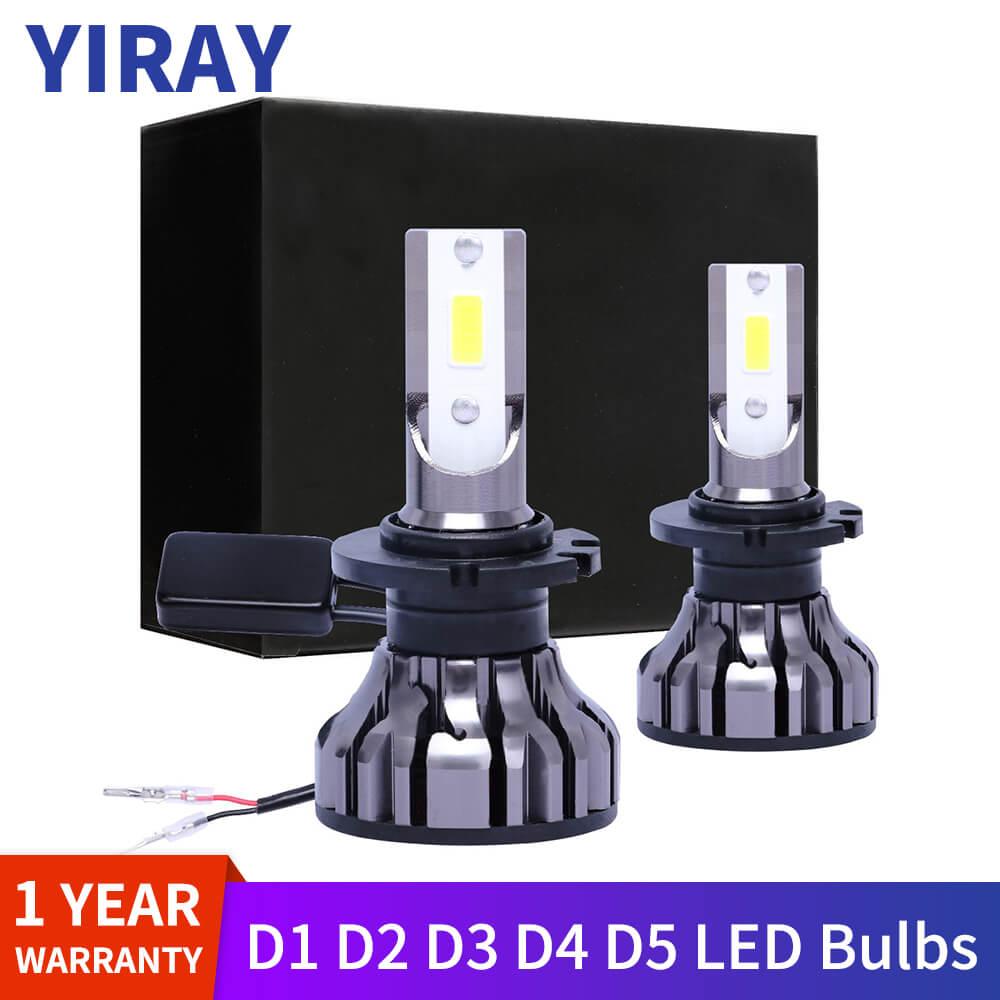 YIRAY 2PCS Suitable For D1S D2S D3S D4S D5S LED Bulbs Car Headlight D1 D2 D3 D4 D5 D1R D2R D3R D4R Headlamp Light 6500K 12V 70W