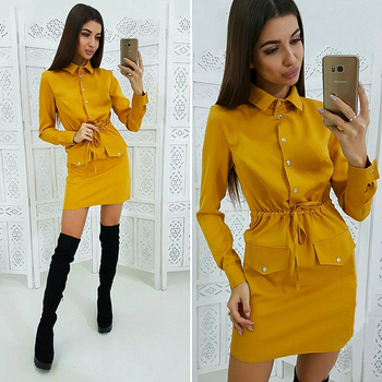 Women Casual Sashes Button Sheath Dress Turn Down Collar Long Sleeve Solid Dress 2019 Autumn Fashion Vintage Elegant Mini Dress 4