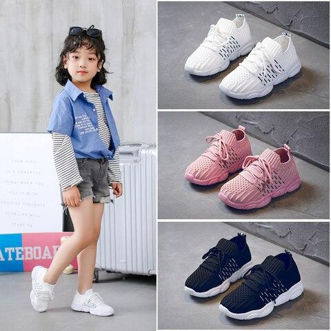 meninas sapatos criancas 2020 meninos tenis meninas malha branca tenis de corrida treinador panda sapato