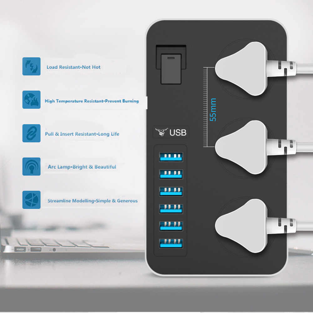Power Strip สมาร์ทซ็อกเก็ต USB อะแดปเตอร์ Surge Protector 3 AC UNIVERSAL ปลั๊กไฟฟ้าปลั๊ก EU/US/UK/ AU สายไฟ 2 M