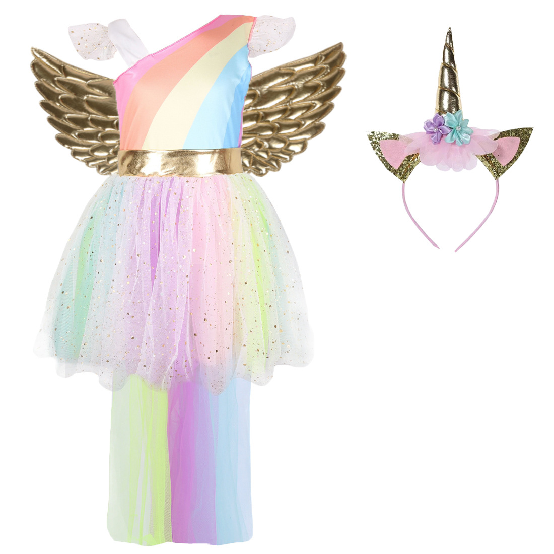 New Unicorn Halloween Costumes For Kids Girls Princess Dresses Mesh Elegant Dress With Gold Headband Wings Carnival Party Dress