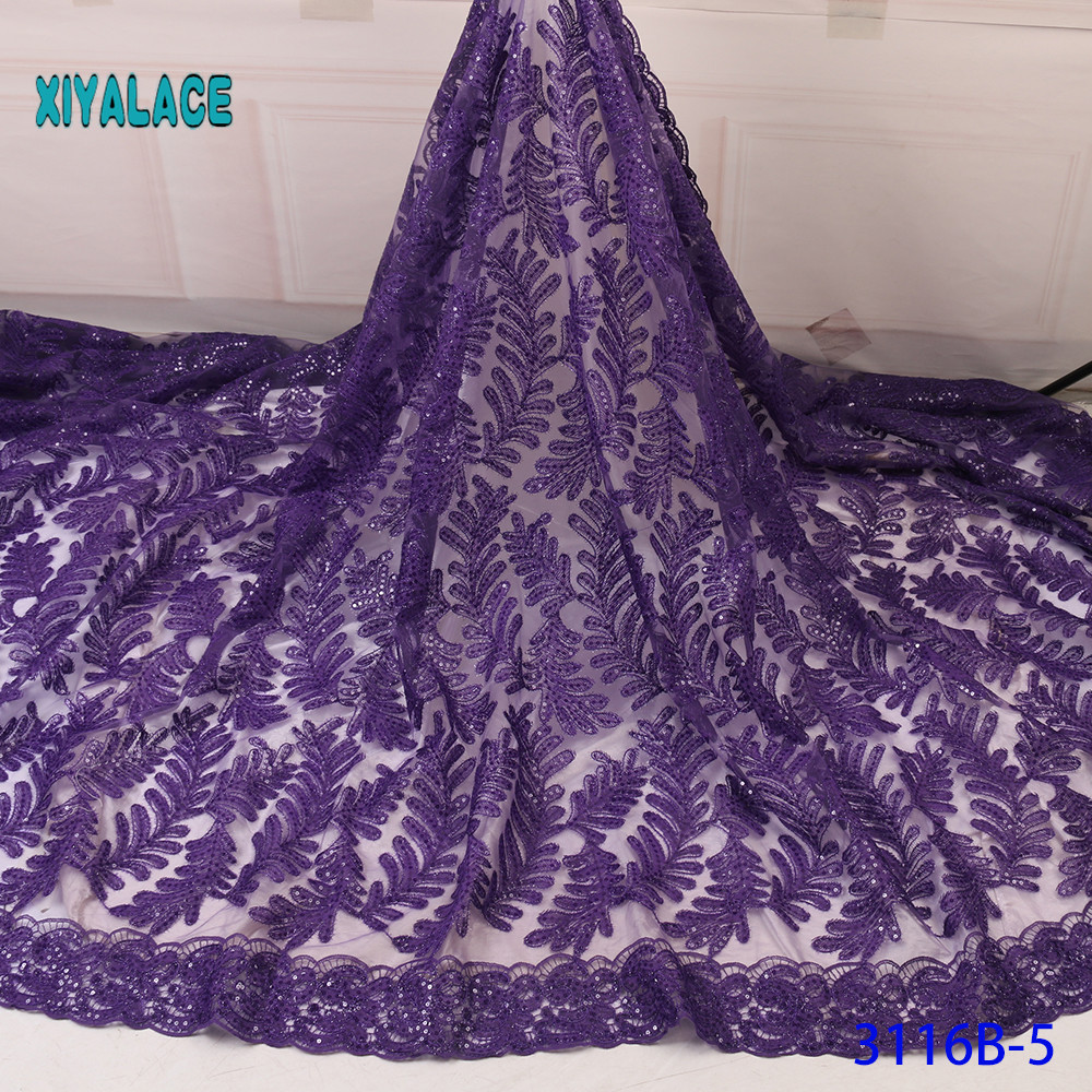 African Lace Fabric French Sequins Lace Fabric Women Wedding Dress 2019 High Quality Lace African Tulle Lace Fabric YA3116B-5