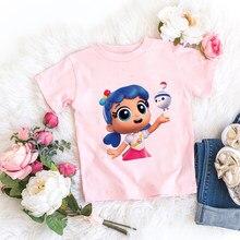 Crianças da menina t camisa rosa do bebê arco-íris reino topos da criança t roupas crianças dos desenhos animados camiseta manga curta casual wear