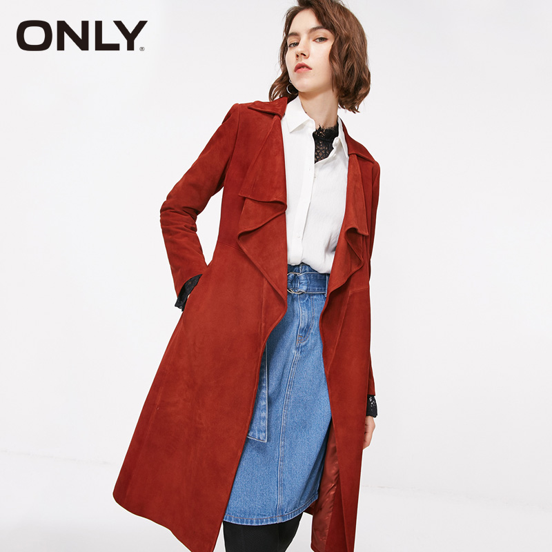 ONLY Autumn Belt Long   Suede     Leather   Trench Coat | 118310533